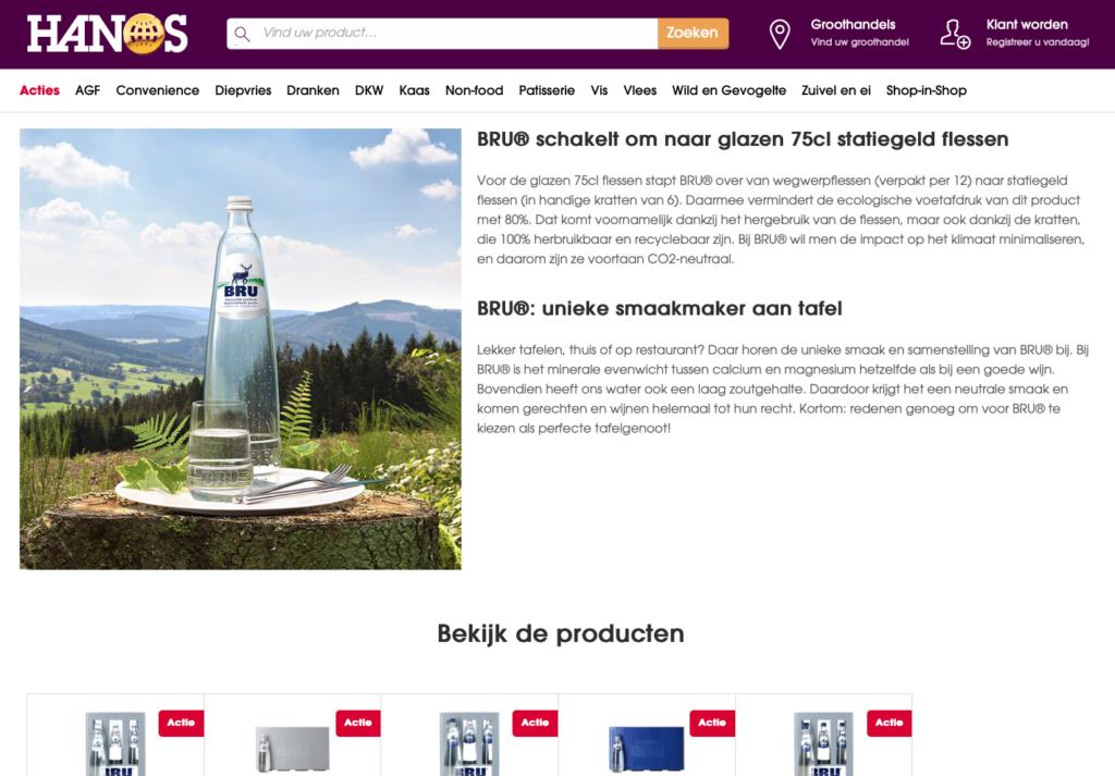 voorbeeld productinformatie BRU